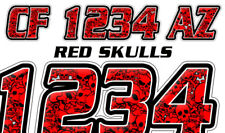 Skulls Red  Boat Registration Numbers or PWC Decals Stickers Graphics Vinyl