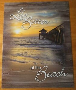 LIFE IS BETTER AT THE BEACH Rustic Boardwalk Wood Plank Sunset Tin Sign NEW