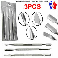 3Pcs Cuticle Pusher Scraper Remover Nail Cleaner Manicure Pedicure Tools New