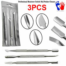 3Pcs Cuticle Pusher Scraper Remover Nail Cleaner Manicure Pedicure Tools New