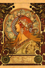 "Mucha Zodiac Astrology Horoscope Lady 12"" X 16"" Poster FREE S/H"