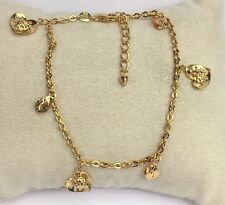 18k Solid Yellow Gold Mix Charms Diamond Cut Italy Bracelet, 7 Inches, 3.82 Gr