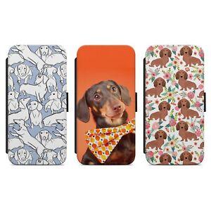 CUTE DACHSHUND PUPPY DOG PATTERN PRINT WALLET FLIP PHONE CASE COVER
