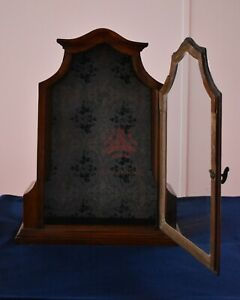 AQ-1195 Biedermeier Vitrine Holz, Glas, Uhrenvitrine, 58cm hoch