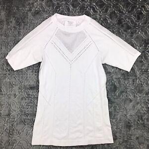ATHLETA Oxygen Tee Shirt Top White Stretch Perforated Cutout Mesh Size M Medium