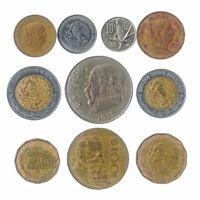 10 DIFFERENT MEXICAN COINS MEXICO OLD COLLECTIBLE COINS CENTAVOS PESOS 1970-2018