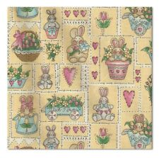 2 Yards Quilt Cotton Fabric Easter Parade Garden Bunny Patch Yellow