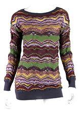 M MISSONI Multi-Color Zig-Zag Wool Blend Long Sleeve Knit Sweater M