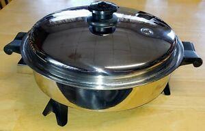 Vintage Saladmaster 7817 Oil Core Electric Skillet w Vapor Lid Fry Pan Exc Cond!