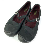 Keen Womens Maryjane Shoe 7 Black Microsuede Leather Cush Comfort 37.5