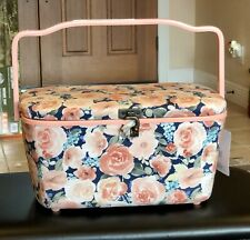 DRITZ Large Sewing Basket - Pink Floral Design Lift-out Tray- Hook Closure NEW