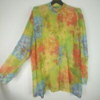 GO SILK Floral Chiffon Tunic Blouse Watercolor Size 2X Green Blue Yellow Orange