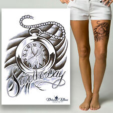 Pocket Watch Clock Temporary Tattoo - Quote Waterproof Mens Womens Kids Sticker
