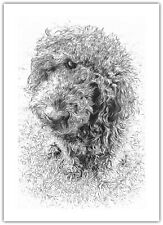 Dog Labradoodle Stylised Black & White - Greetings Card Birthday / Blank Notelet