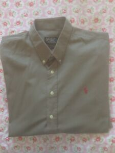 Polo Ralph Lauren Brown 100% Cotton Long Sleeve Button Up Shirt Size XL