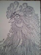 dessin à l'encre d'un coq