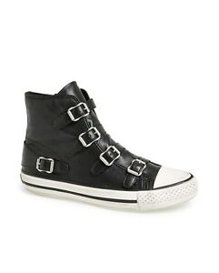 Ash Brand Women's Celeb All Star Virgin Leather Mid Top Shoes Sneakers Black