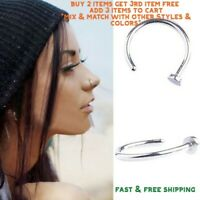 Surgical Stainless Steel Plain Silver Open Nose Ring Hoop 6mm 20 Gauge