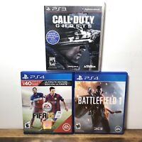 SONY PlayStation 3 & 4 3 Game Lot - Battlefield 1, FIFA 15, Call Of Duty Ghosts