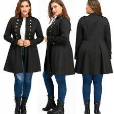 UK Women Plus Size Double Button Swing Jackets Long Coat Zipper Cardigans Jacket