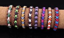 Lot 8pcs Surfer Hemp Leather Braided Men's Wristband Bracelet Bangle Multi-Color