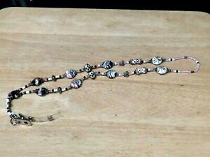 PINK, BLACK & WHITE HAND MADE BEADED BADGE HOLDER BUTTERFLIES/ROSES  NWOT