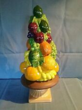 Vintage 3 Piece Glazed Ceramic Fruit Topiary Centerpiece