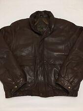 MINT Vtg Eddie Bauer Genuine Leather Goose Down Puffer Flight Bomber Jacket XL