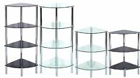 Standing Corner Shelving Unit Display Stand Clear/Glass Black&Chrome Frame Table