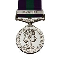 FULL SIZE GENERAL SERVICE MEDAL WITH CYPRUS CLASP - GSM 1918-62 ER II REPRO UK