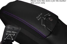 PURPLE STITCH ARMREST LID LEATHER SKIN COVER FITS MERCEDES CLK W209 C209 02-09