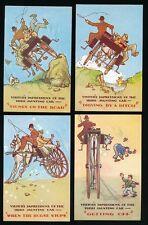 Ireland Comic JAUNTING CARS x4 c1950/60s? PPCs pub by Valentine