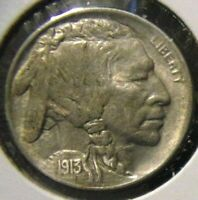 1913-D Buffalo Nickel - Variety 1 - About Uncirculated detail