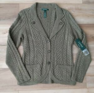 NEW $199 Ralph Lauren Cardigan Sweater Wool Cashmere Rabbit Cable Knit Fisherman