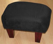 Superb new black faux suede small footstool dark solid wood legs foot stool uk