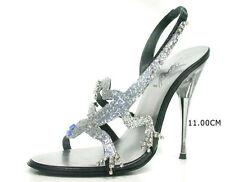 Italy traumhafte silber funkelnde wie Diamanten Designer High Heels  Gr.41
