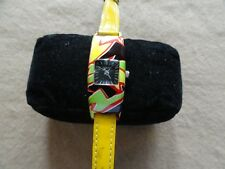Colorful Fossil Quartz Ladies Watch with a Yellow Leather Band