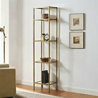 Crosley Aimee Narrow Open Display Case in Gold