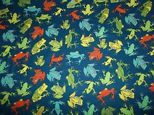 Handcrafted flannel 2 pc crib/toddler sheet set, Navy w/ Frogs/ Neutral