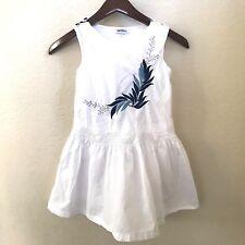 Minicrew Girls sz 9 10 Sleeveless White Dress A Line Scallop Waistline Youth