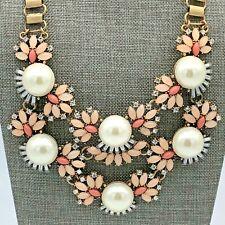 Pink Fashion Statement Bib Necklace Gold Tone Rhinestone Pearl Coral