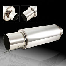 """JDM 4"""" N1 Tip T304 Stainless Steel Exhaust Resonator Canister Muffler 2.5"""" Inlet"""