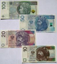■■■ Poland 2014 L2012 Set NEW Polish Banknotes 3xAA 10, 20, 50, 100 Zloty UNC ■■