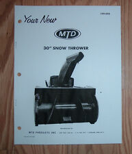 MTD 199-658 SNOW THROWER ATTACHMENT OWNERS MANUAL WITH PARTS LIST