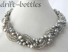 4Strands 18'' 7MM Gray baroque Freshwater Pearl Faceted Crystal Necklace