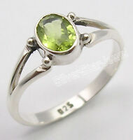 925 Sterling Silver FACETED GREEN PERIDOT Ring Any Size Parents' Day Gift