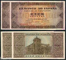 paire corrélatif 100 Pesetas année 1938 SC Espagne Paire Série 113 a/UNC