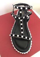 Valentino Garavani Free Rockstud Leather Gladiator Sandal Black White, 40, 10