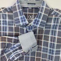 Bugatchi Uomo Mens Large Blue/Brown White Plaid Flip Cuff Dress Shirt(G17)
