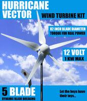 HURRICANE VECTOR 2.0 12 VOLT WIND TURBINE GENERATOR KIT 750 WATT 1000 CONTINUOUS